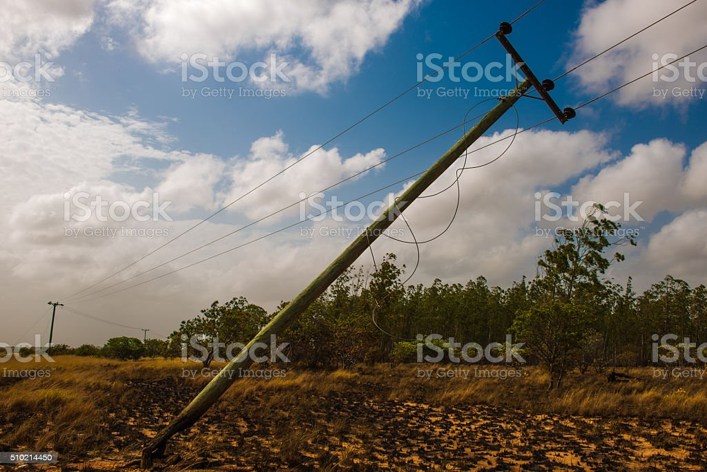 Power line damaged during fire stock photo