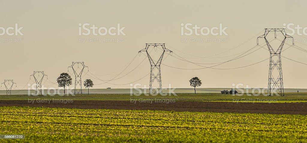 Power line, electricity pylons, Landscape stock photo