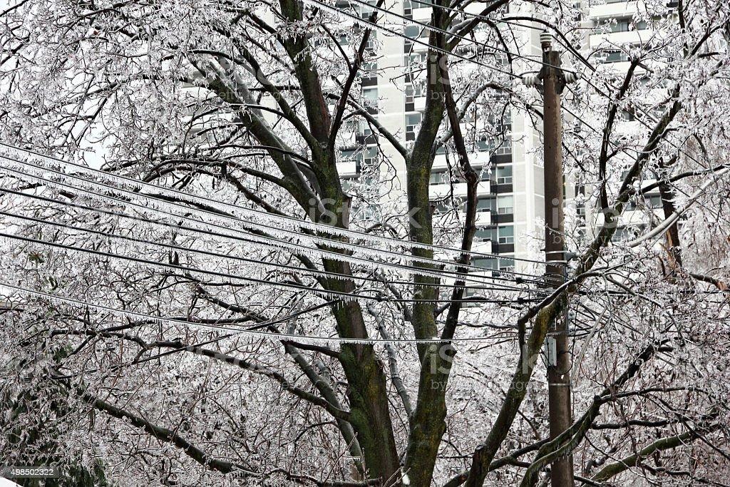 Power Line in Ice Storm stock photo