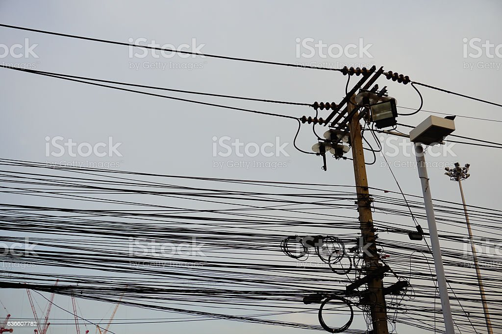 Power line on tower stock photo