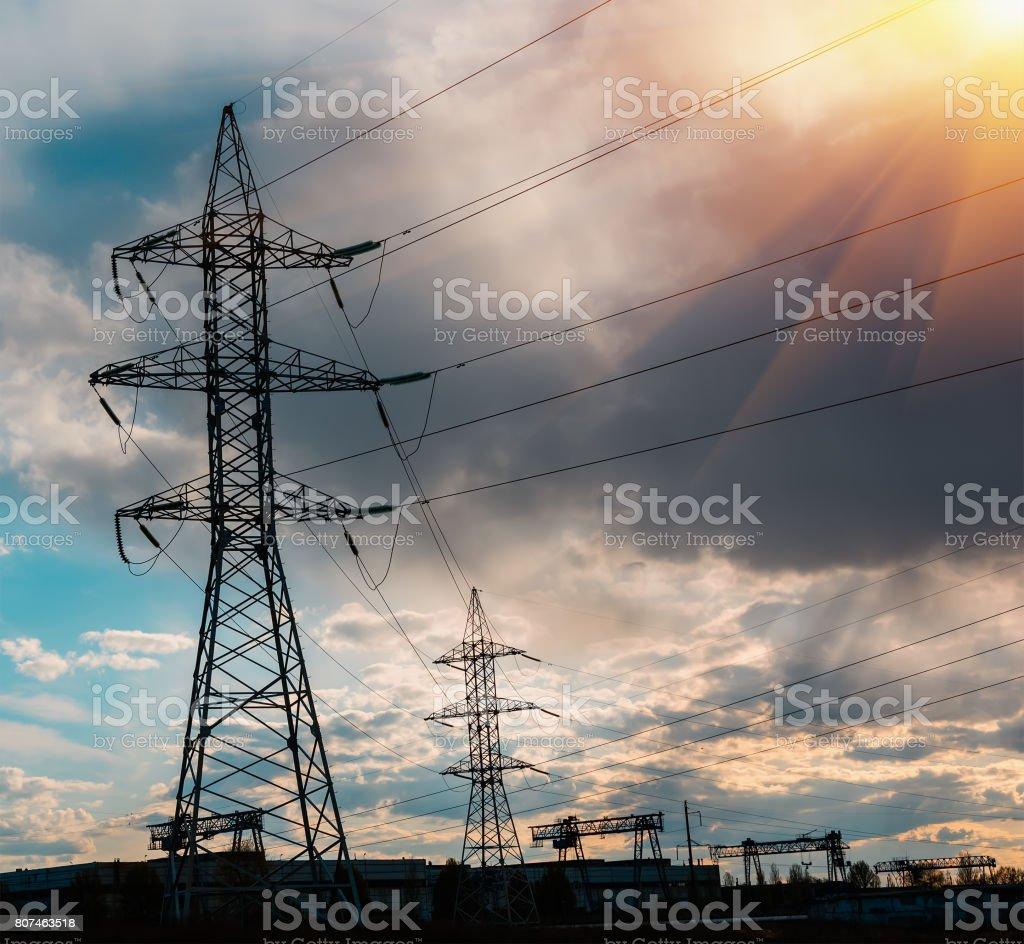 Power Line. pylon against a blue sky. stock photo