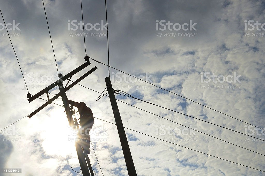 Power line repair stock photo