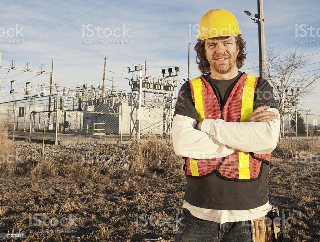 Power Line Technician royalty-free stock photo