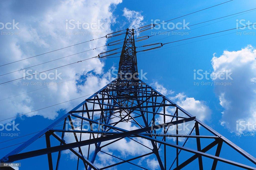 Power line tower stock photo
