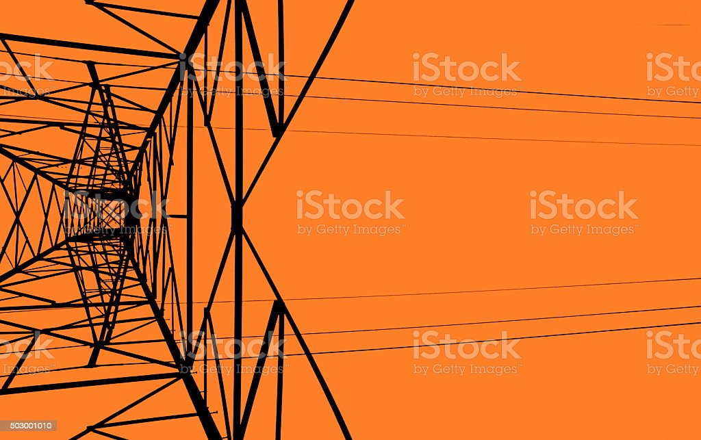 Power Line Tower - Straight Up stock photo