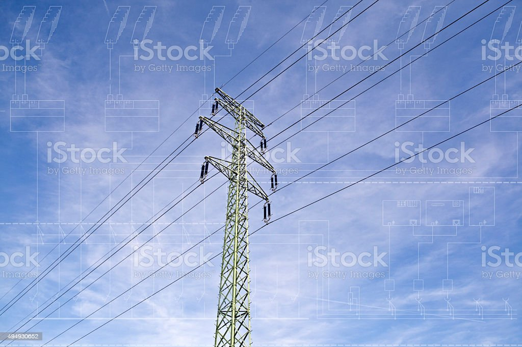 Power line tower with single line diagram blueprint stock photo