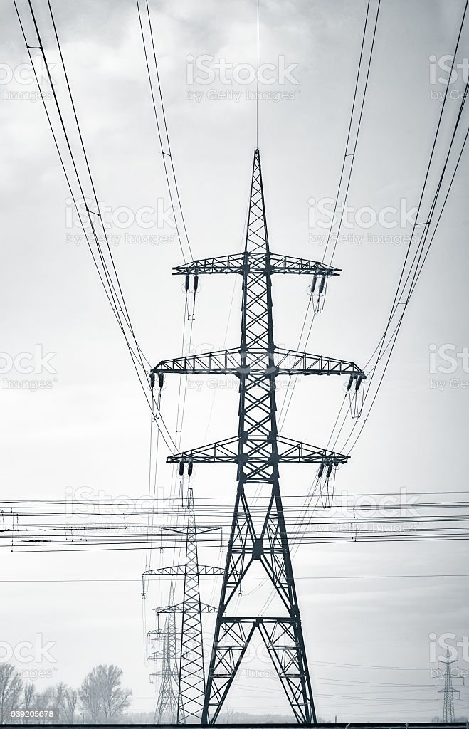 Power Line Towers stock photo
