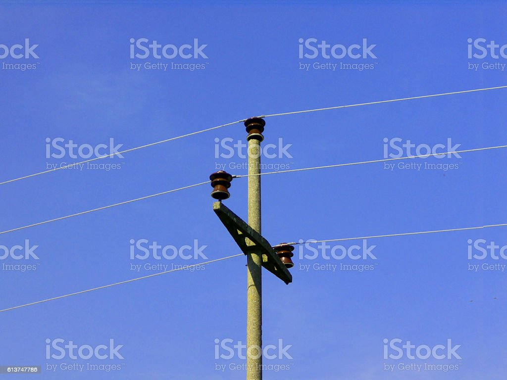 power line with a concrete pole stock photo