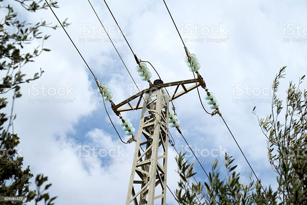 Power Line with Glass Insulators stock photo