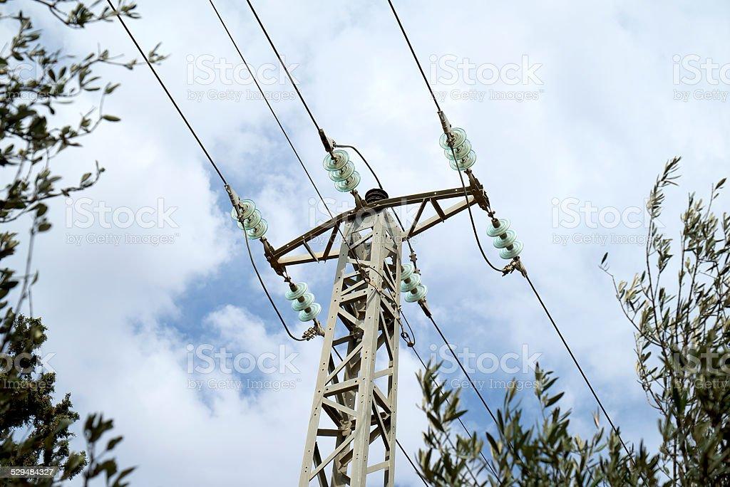 Power Line with Glass Insulators stock photo