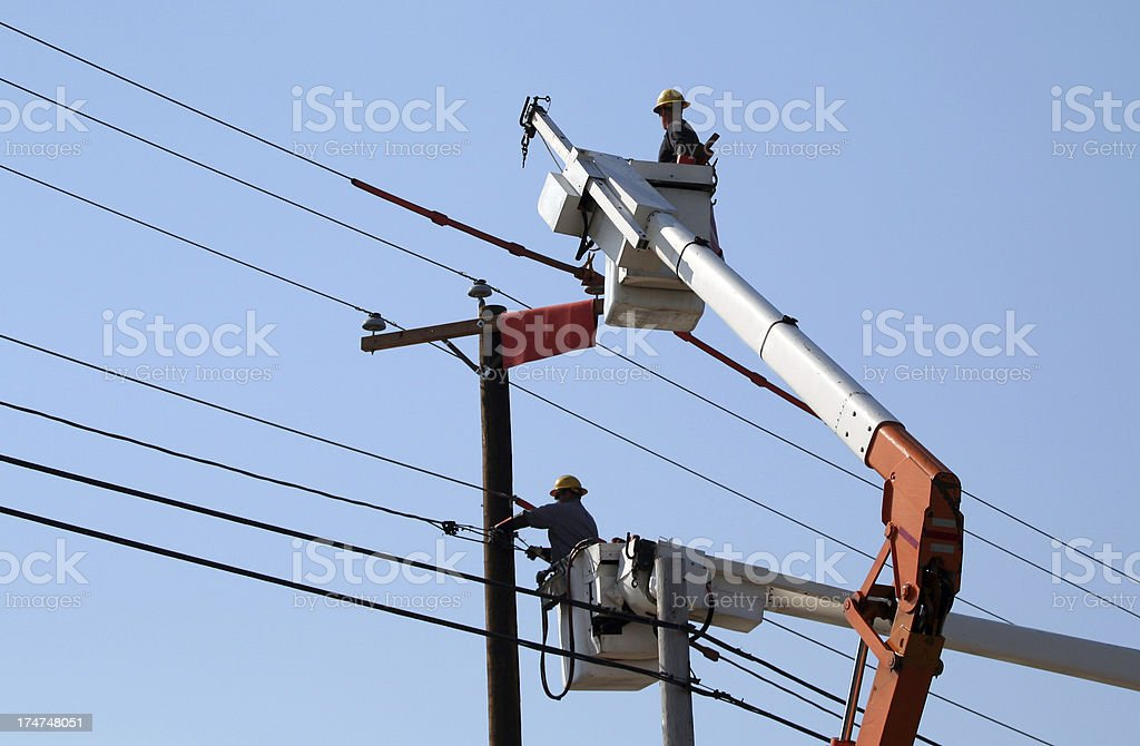 Power Line Workers stock photo