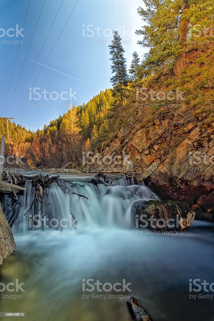 Power Lines and a River royalty-free stock photo