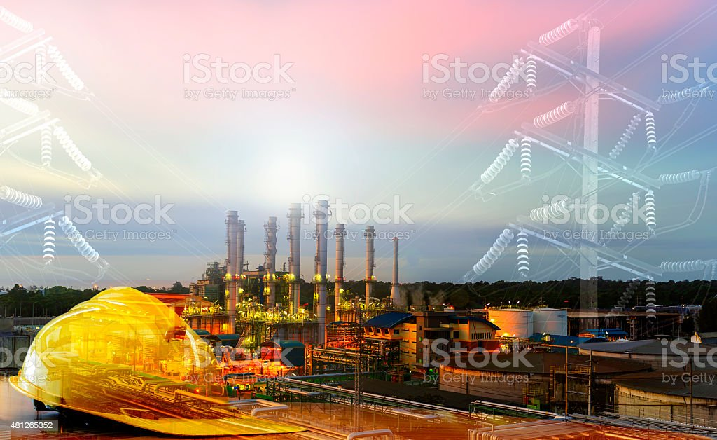 Power lines and Safety helmet ,safety first sign. stock photo