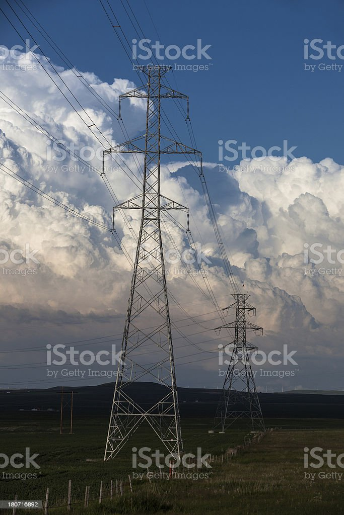 Power Lines and Storm royalty-free stock photo