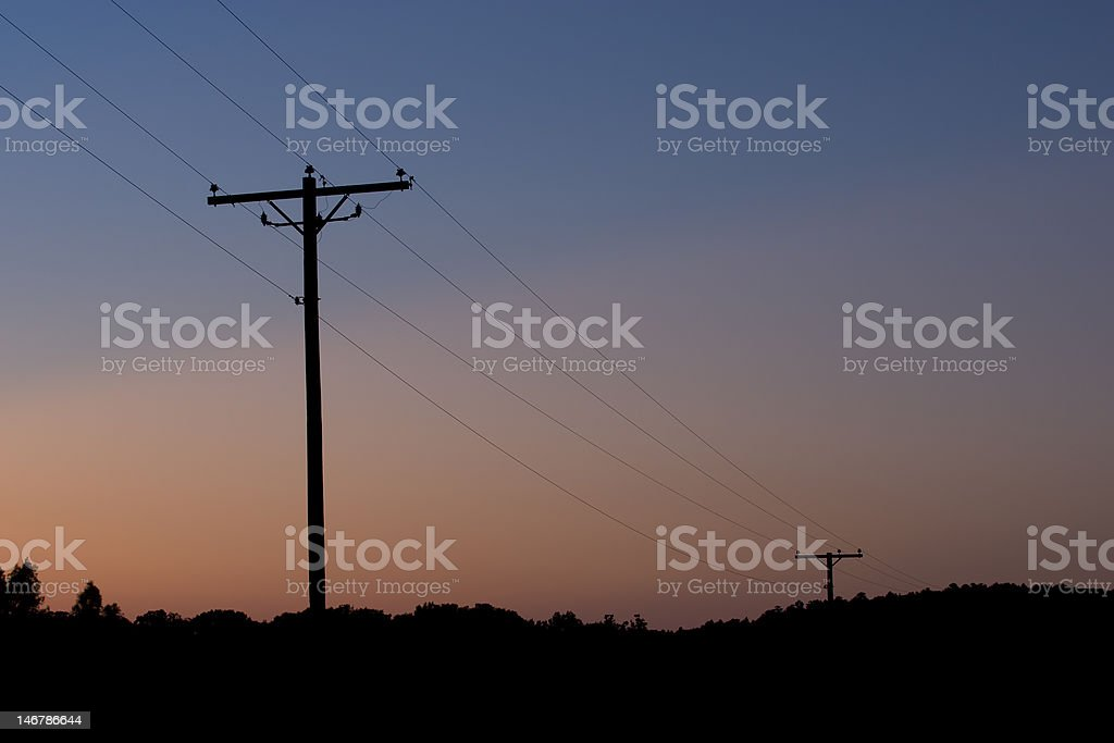 Power Lines at Dusk royalty-free stock photo