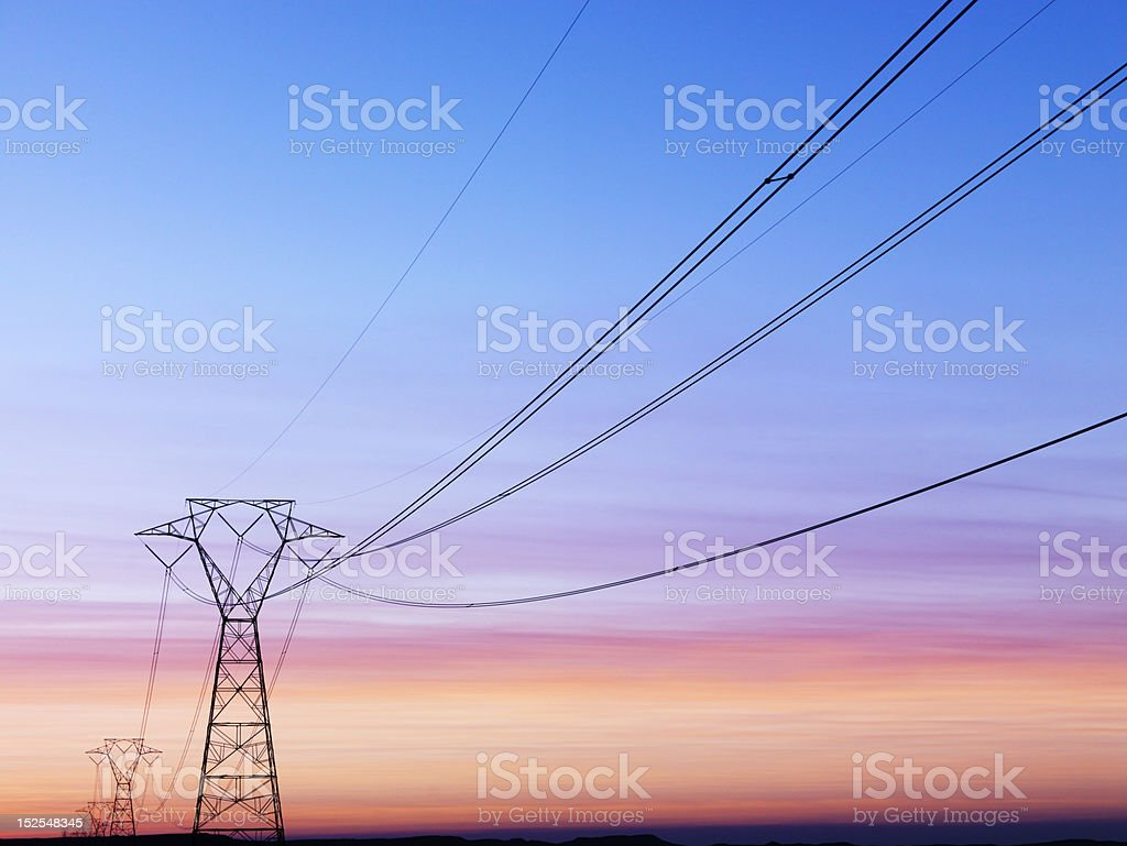 Power Lines at Sunset stock photo