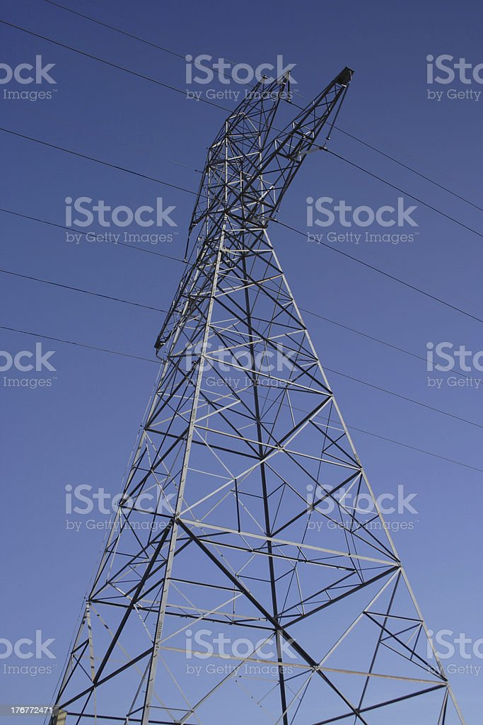 power lines coming from a nuclear plant stock photo