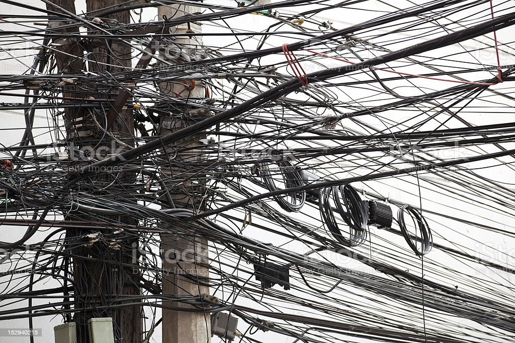 Power lines in a mess stock photo