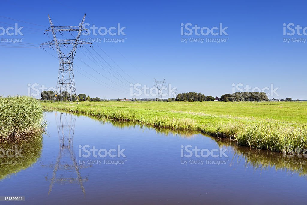 Power lines in Dutch polder landscape on a clear day stock photo