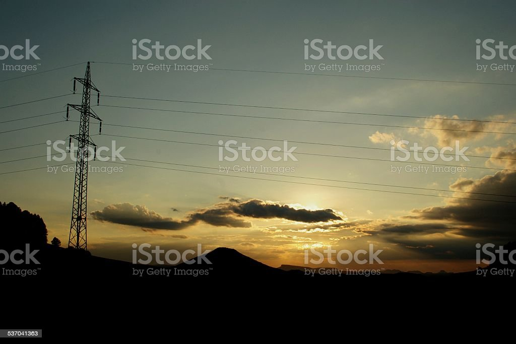 Power lines in the panorama of National park Czech-Saxon Switzerland stock photo