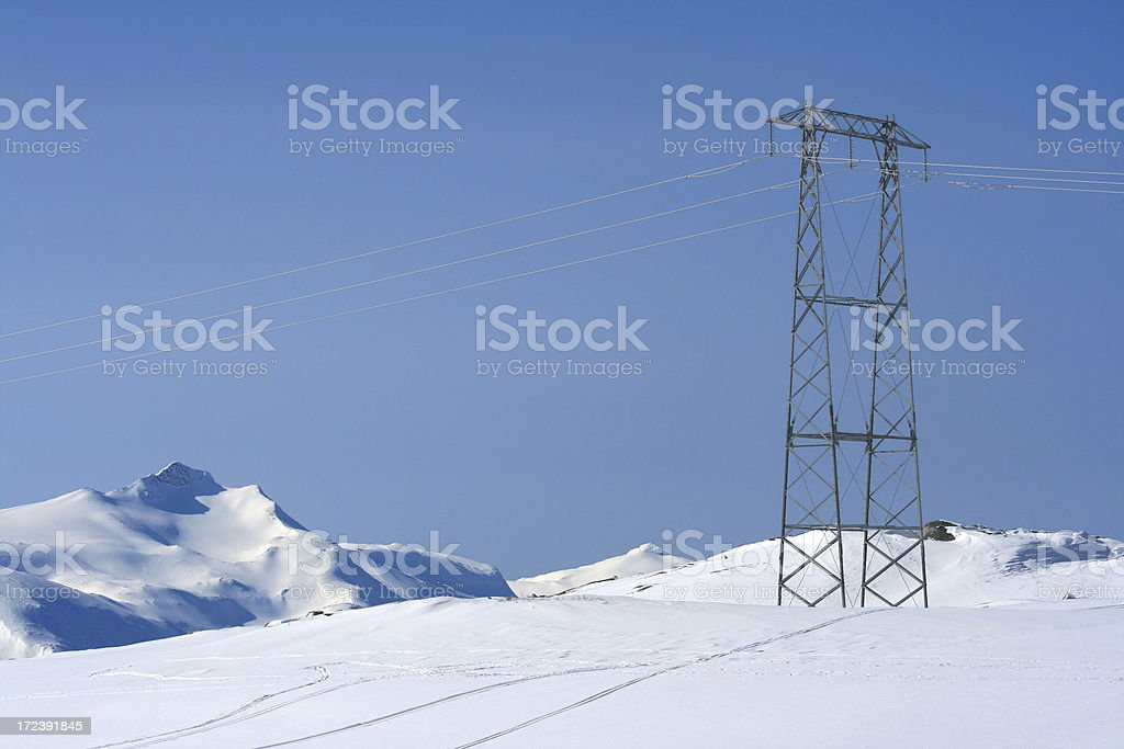 Power lines in winter landscape royalty-free stock photo