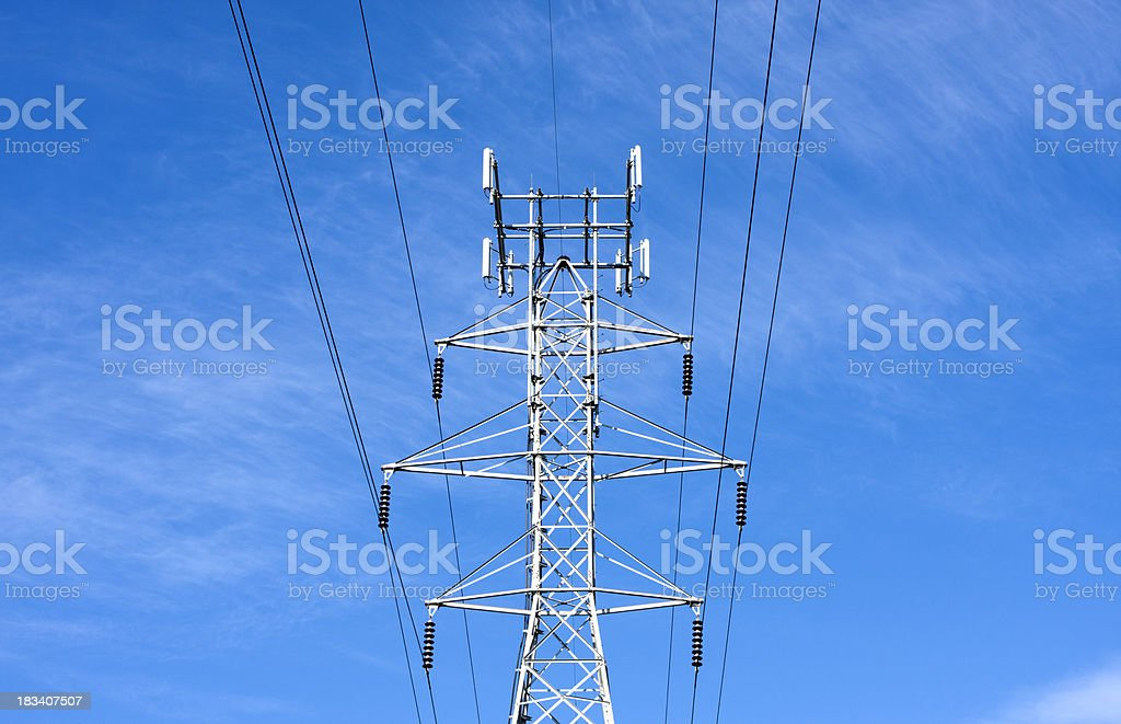 Power Lines & Tower stock photo