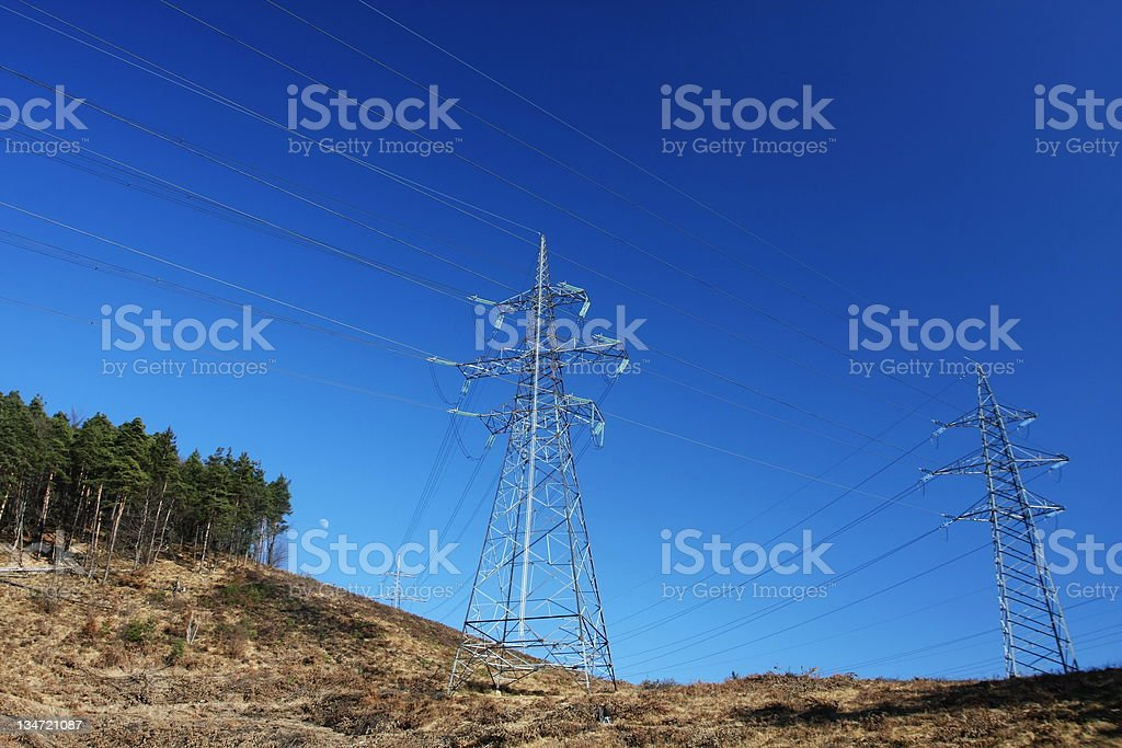 Power lines...Electric transmission stock photo