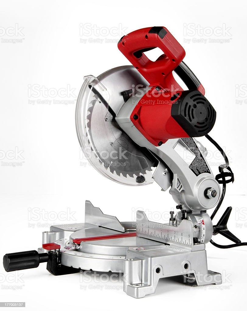 Power Miter Saw (chop saw) shot on a white background stock photo