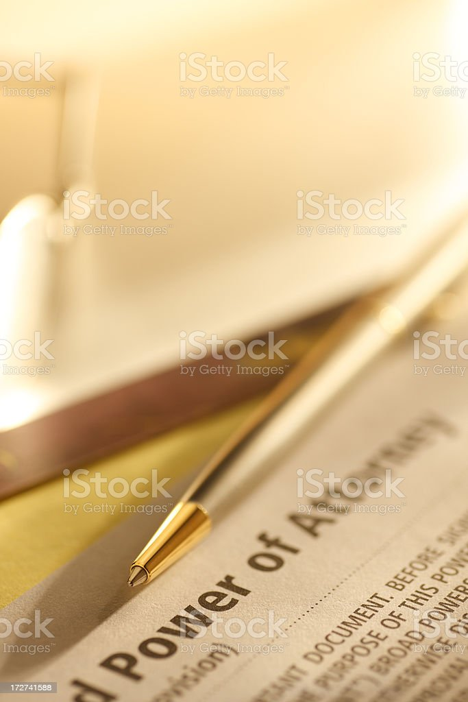 Power of Attorney Ducument stock photo