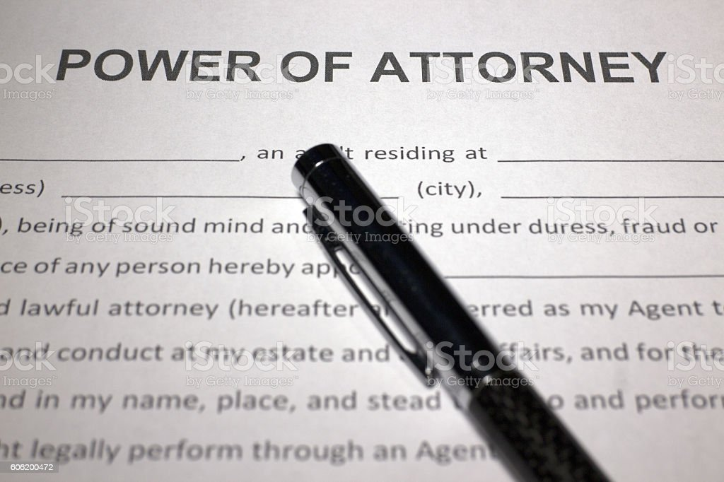 Power of Attorney Form stock photo