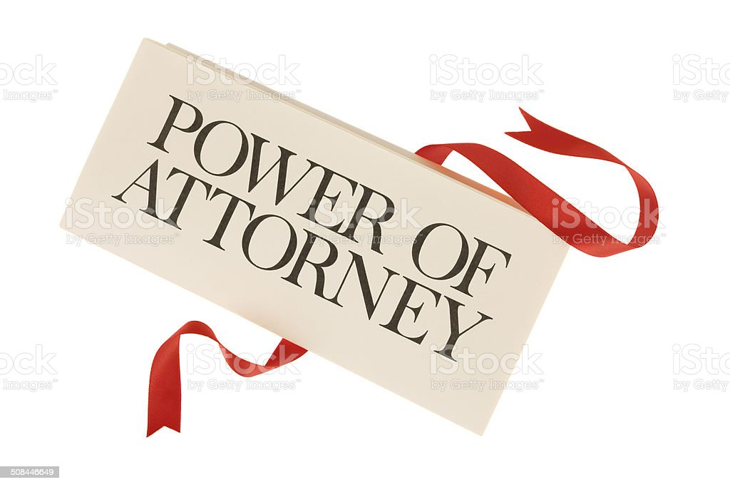 Power of Attorney - Isolated  Folded Document with Untied Ribbon stock photo