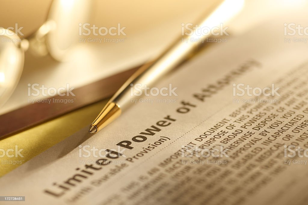 Power of Attorney stock photo