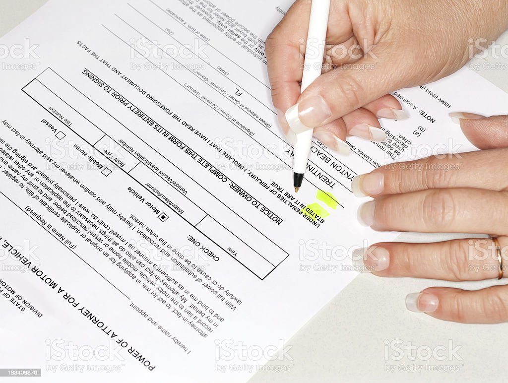 power of attorney stock photo
