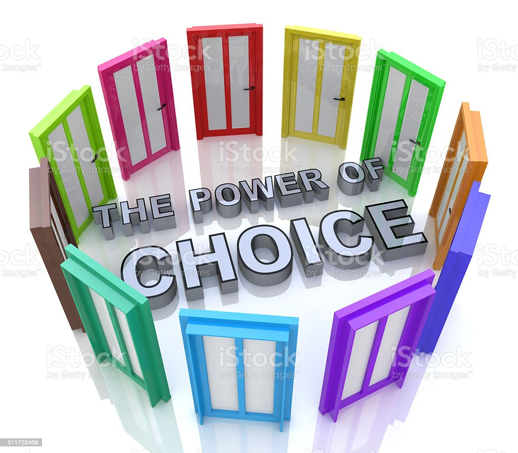 Power of Choice Many Doors Opportunity Decide Best Option stock photo