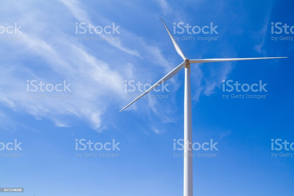 Power of wind turbine generating electricity clean energy. stock photo
