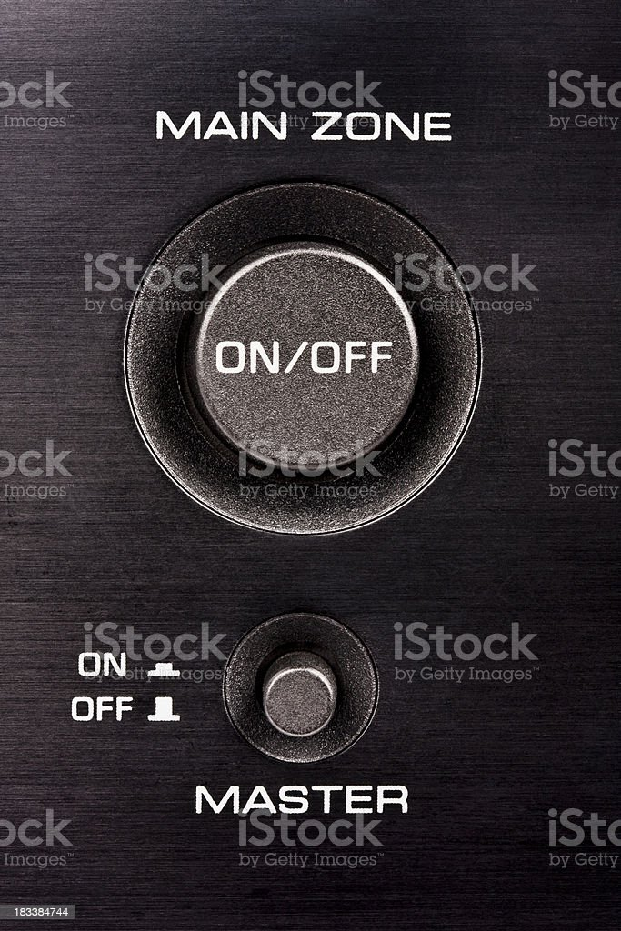 Power On/Off buttons on hi-tech Audio/Video receiver stock photo