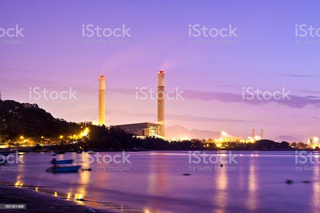 Power plant along coast royalty-free stock photo