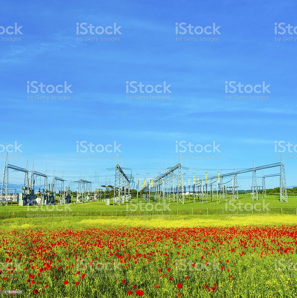 power plant and distribution station royalty-free stock photo