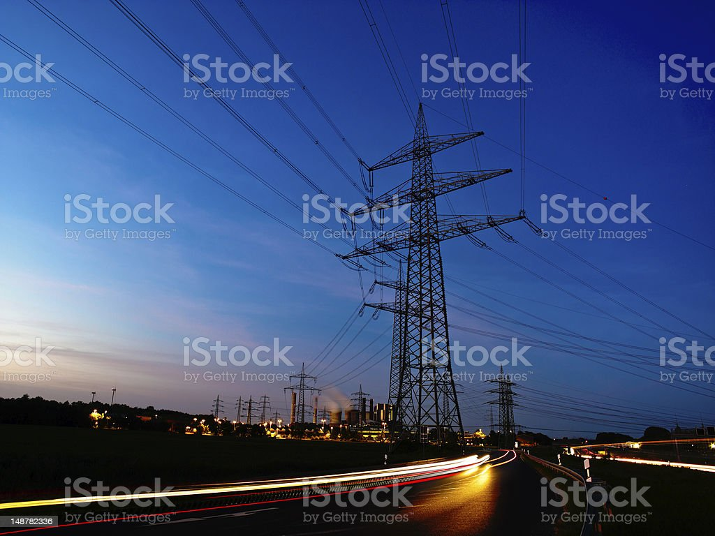 power plant and lines stock photo