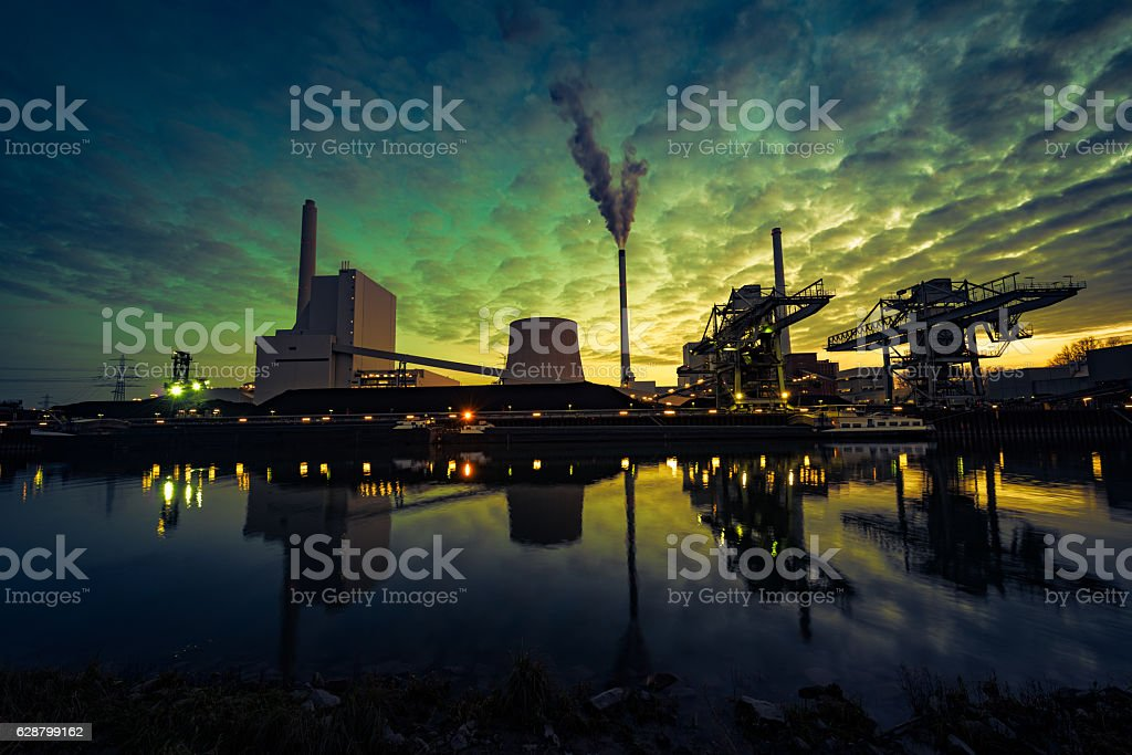 power plant at blue hour stock photo