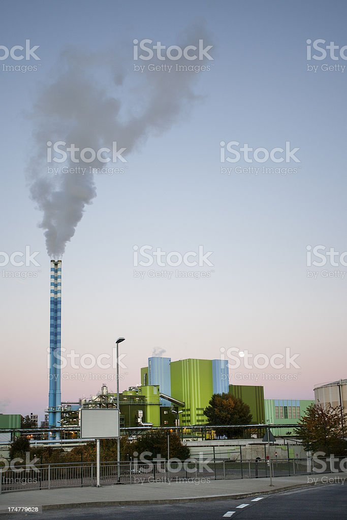 Power plant at dusk royalty-free stock photo
