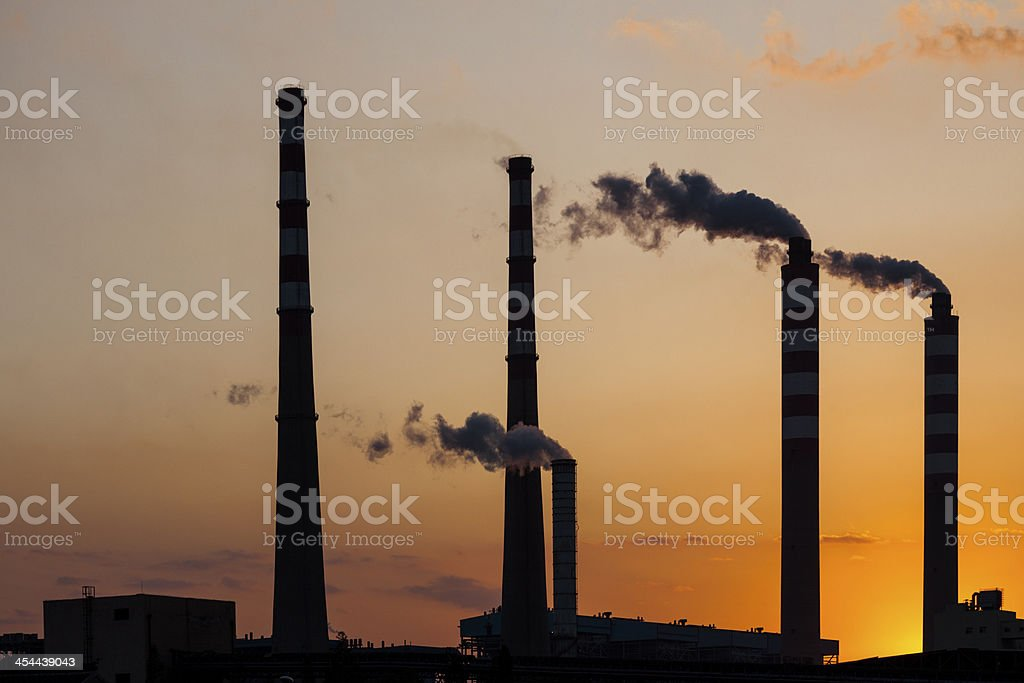 Power plant at sunset royalty-free stock photo