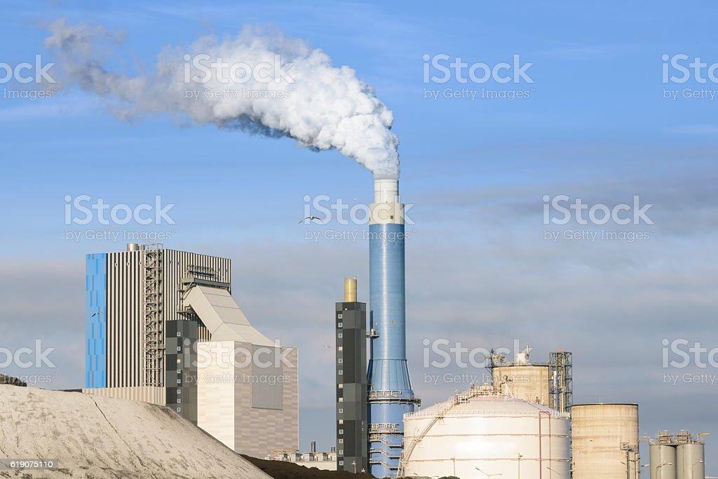 Power plant burning coal stock photo