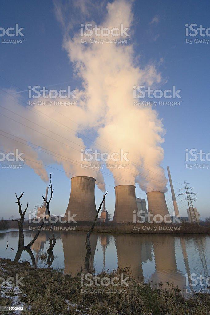 Power Plant By Flood Plain stock photo