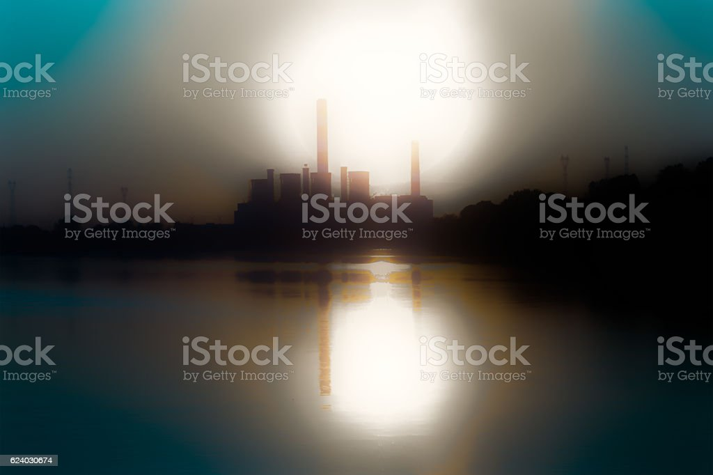 Power plant by the river stock photo