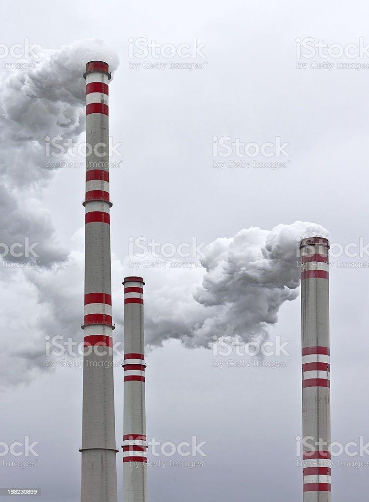 power plant chimneys stock photo