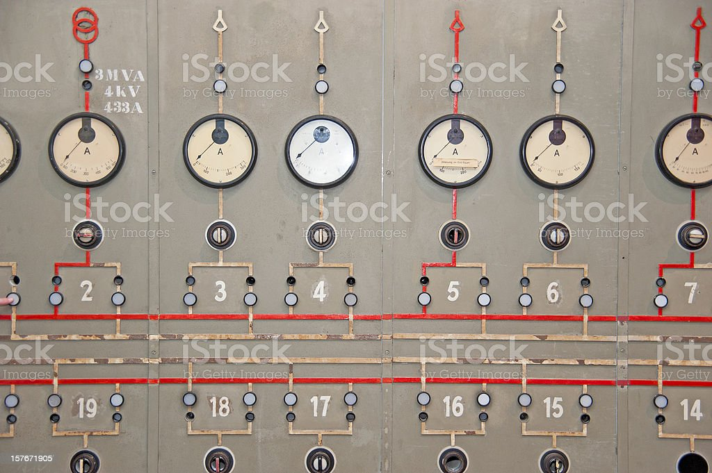 power plant console panel - Altes Kraftwerk royalty-free stock photo