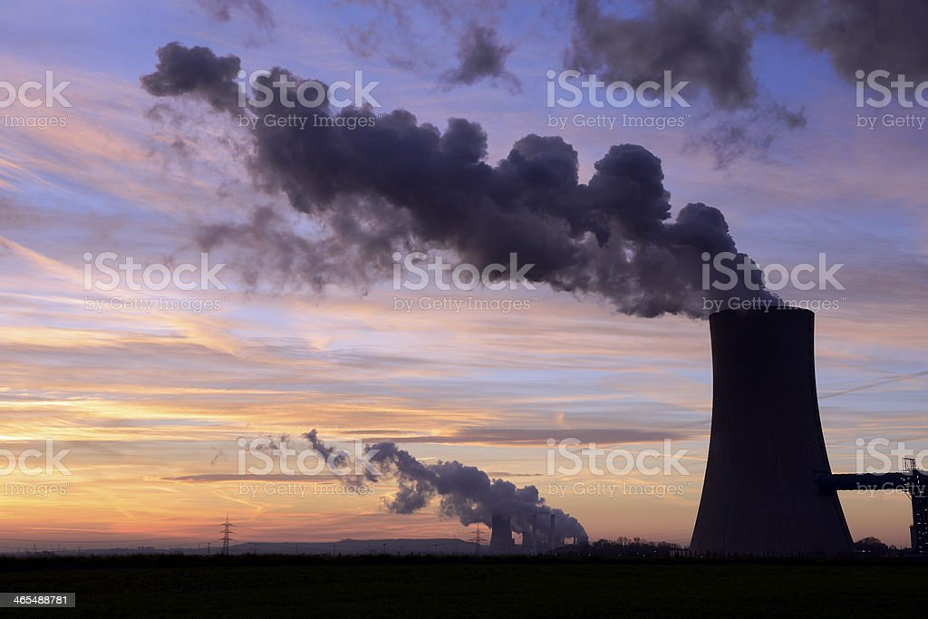 Power plant / cooling tower at dawn royalty-free stock photo