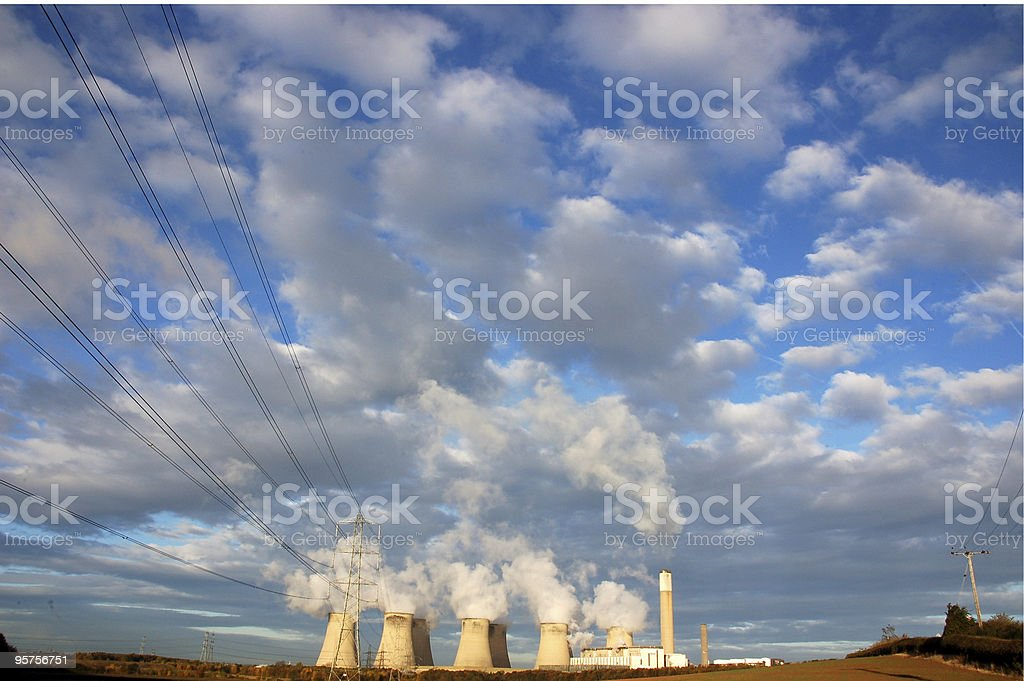 Power plant cooling towers royalty-free stock photo