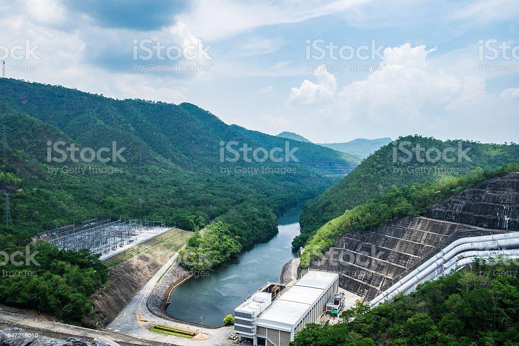 Power plant in dam srinakarin on mountain stock photo